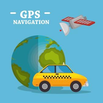 Planeta mundial con iconos de navegación gps