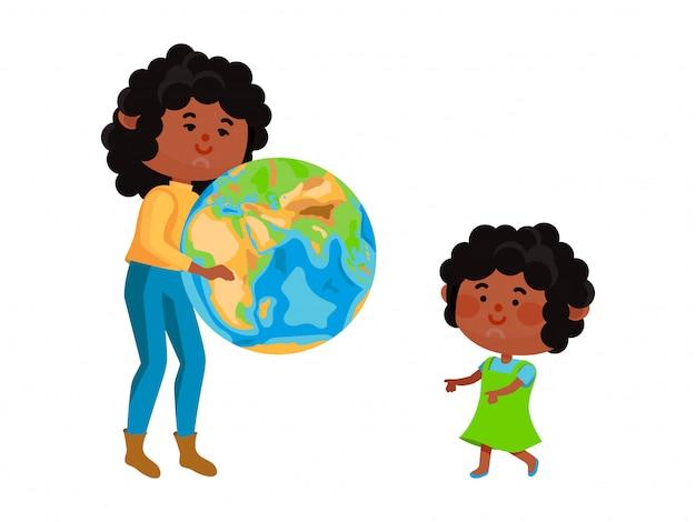 El planeta negro del asimiento de la mano del carácter y da a los niños de la tierra aislados en blanco, ilustración. conservación de los recursos naturales de la generación futura.