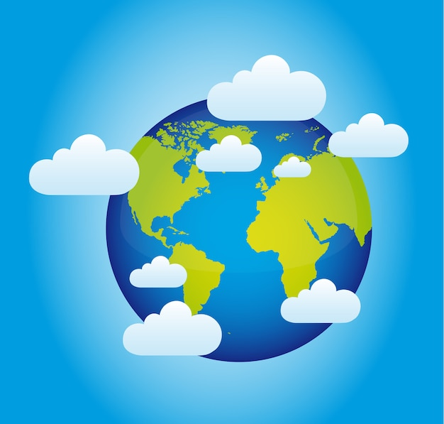 Planeta con nubes sobre azul