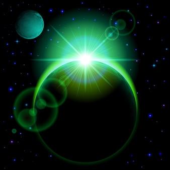 Planeta oscuro con destellos