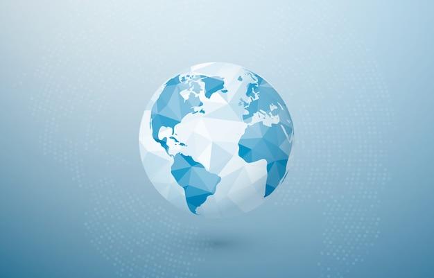 Planeta poligonal abstracto. mapa del globo del mundo. concepto de tierra creativa.