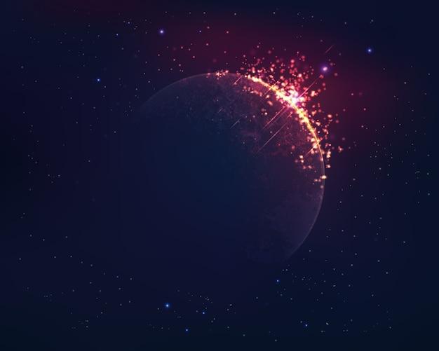 Planeta realista con efecto fuego y fondo del espacio exterior.