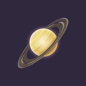 Planeta saturno en el icono del espacio profundo