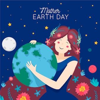 Planeta tierra abrazando a una niña con flores en el pelo