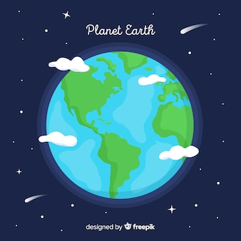 Planeta tierra adorable con diseño plano