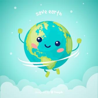 Planeta tierra adorable con estilo de dibujo animado