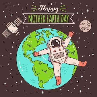 Planeta tierra y astronauta feliz