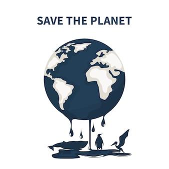 Planeta tierra contaminada por petróleo y animales moribundos.