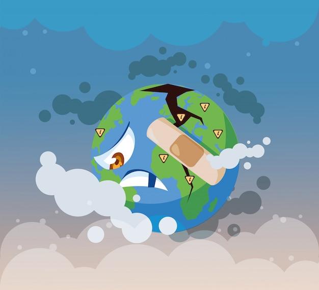Planeta tierra enfermo de contaminación