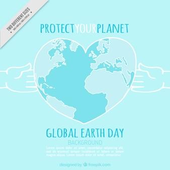 Planeta tierra con forma de corazón azul