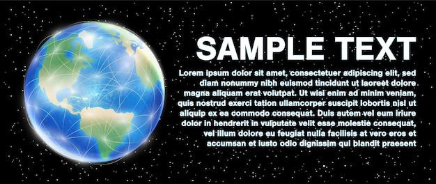 Planeta tierra globo sobre un fondo del espacio