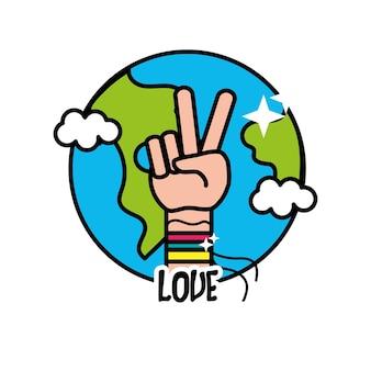 Planeta de la tierra con la mano símbolo de la paz y el amor