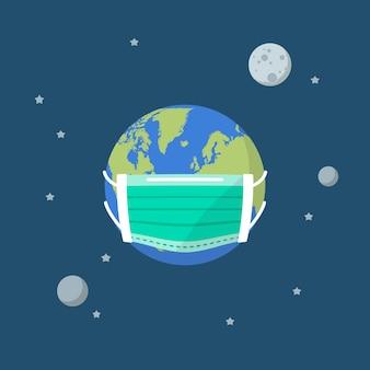 Planeta tierra con una máscara médica de protección
