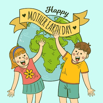 Planeta tierra y niños celebrando