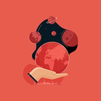 Planeta tierra en la palma rodeado de diferentes planetas de galaxias que cuidan y salvan el concepto del día de la tierra del globo terráqueo