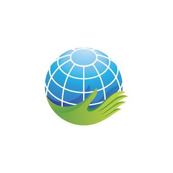 Planeta tierra planeta y logotipo de la mano