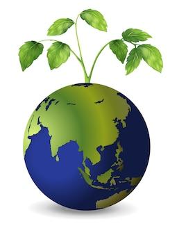 Planeta tierra con plantas en crecimiento.