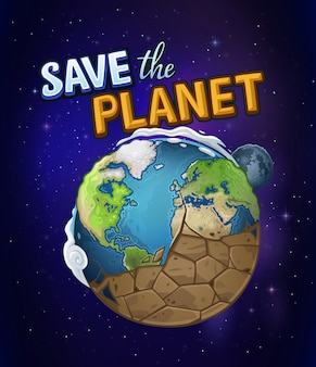 El planeta tierra se seca en el espacio. salva la tierra