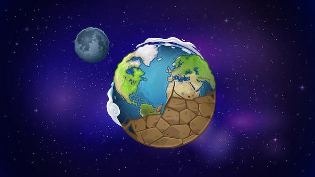 El planeta tierra se seca en el espacio.