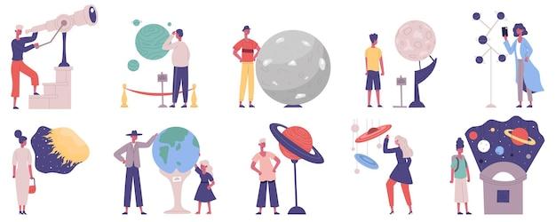 Planetario, observatorio astronómico, exposición científica, personajes visitantes. conjunto de ilustración de vector de exposición de sistema solar de astronomía. visitantes de excursión al observatorio
