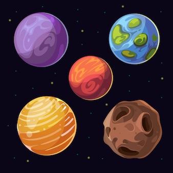 Planetas alienígenas de dibujos animados, lunas asteroides en el fondo del espacio. cuerpos celestes y planeta coloreado. vect