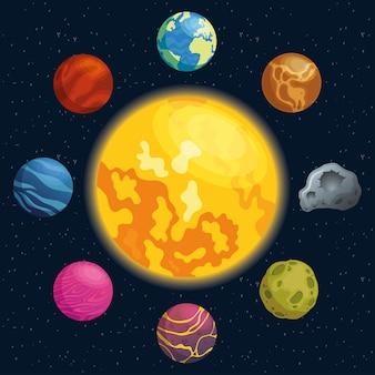 Planetas alrededor de los iconos del espacio solar