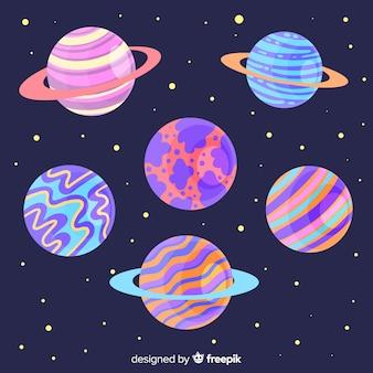 Planetas coloridos en el conjunto del sistema solar