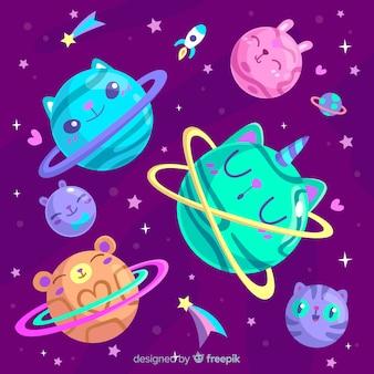 Planetas coloridos del conjunto del sistema solar