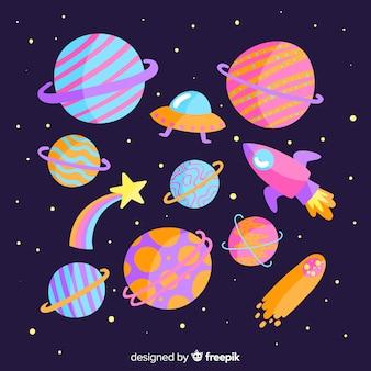 Planetas coloridos en el paquete del sistema solar