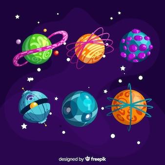 Planetas coloridos del paquete del sistema solar