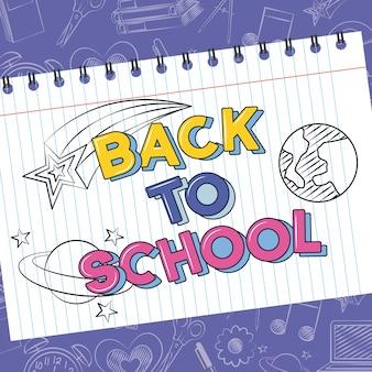 Planetas, cometa y estrella en el cuaderno, garabato de regreso a la escuela dibujado en una hoja de cuadrícula