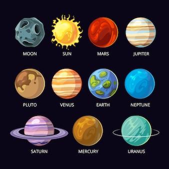 Planetas de dibujos animados del sistema solar establecidos en el fondo del espacio del cielo oscuro.