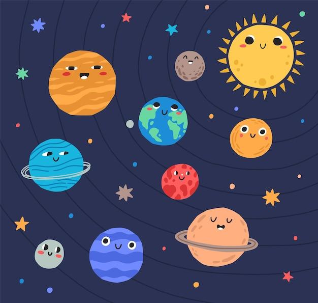 Planetas divertidos del sistema solar y el sol con caras sonrientes. adorables cuerpos celestes en el espacio exterior.