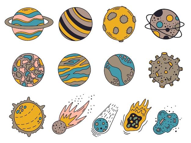 Planetas de doodle. planetas y meteoritos del universo dibujados a mano, lindos cuerpos del sistema solar