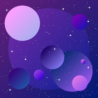 Planetas en el espacio ultraterrestre planetas imaginarios abstractos para tarjeta de diseño invitación a conferencia científica