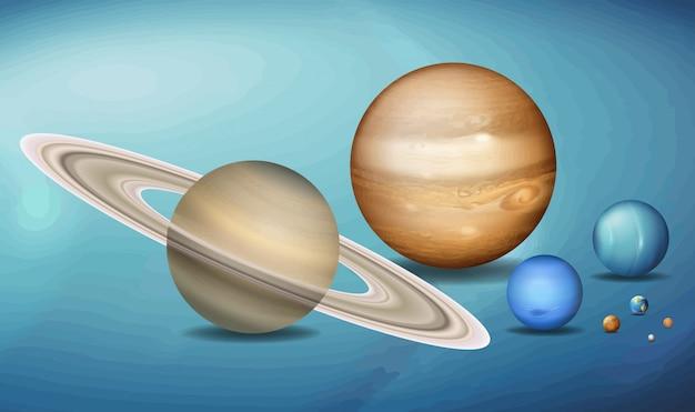 Planetas en el espacio.