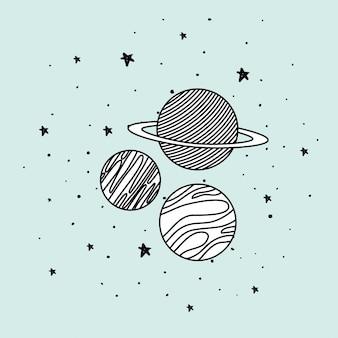 Planetas y estrellas en el espacio.