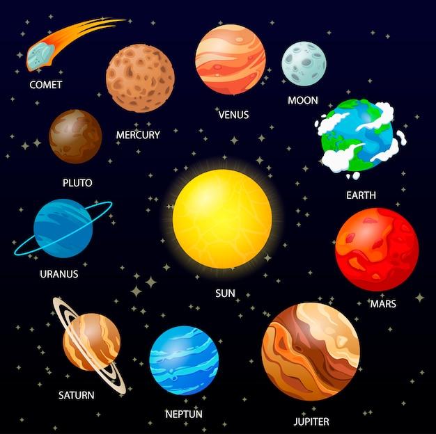Planetas con fondo espacial