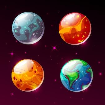 Planetas en la ilustración del espacio. dibujos animados de la tierra, marte o la luna y el sol o plutón y júpiter