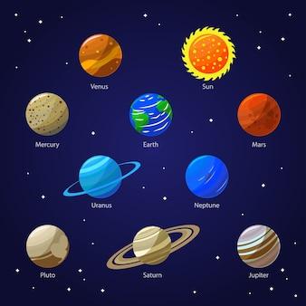 Planetas del sistema solar y sol en el cielo nocturno