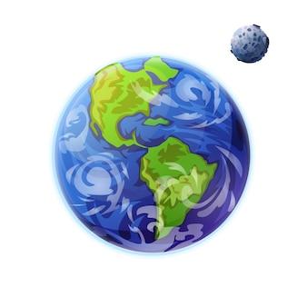 Planetas tierra y luna del sistema solar.