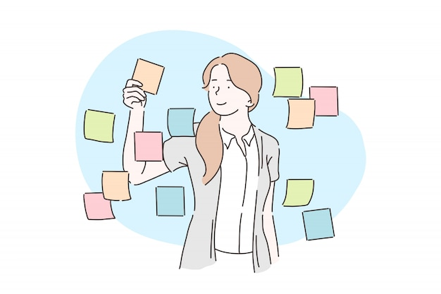 Planificación, análisis, concepto de plan de negocios.