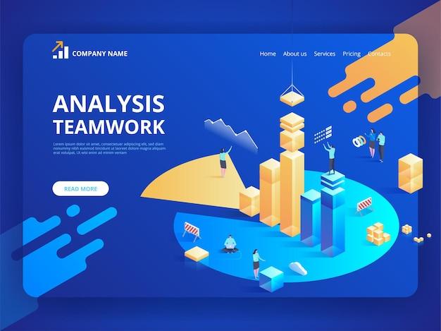 Planificación de análisis de negocio isométrico. gestión de proyectos y estrategia de informes financieros.