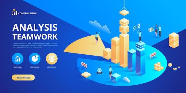 Planificación de análisis de negocio isométrico. gestión de proyectos y fin