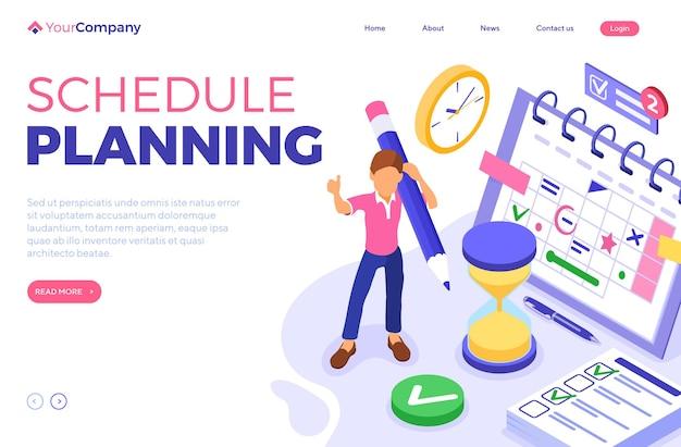 Planificación del calendario y la página de inicio de la gestión del tiempo.