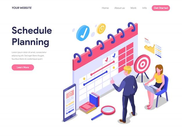 Planificación del concepto isométrico de planificación para la página de inicio, la interfaz de usuario y el sitio web