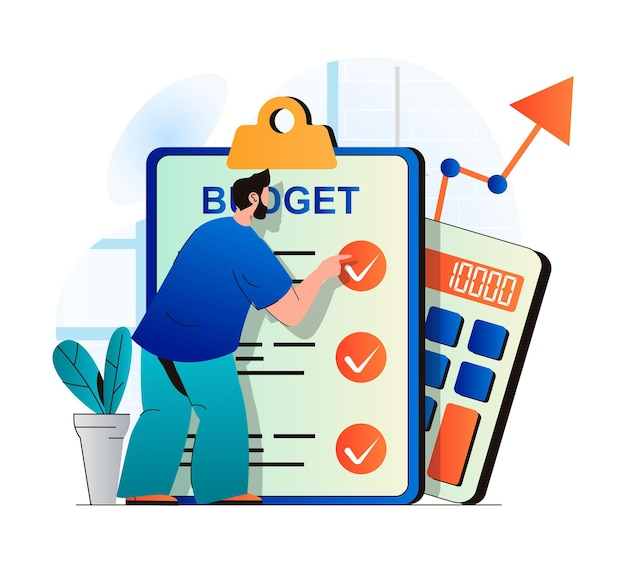 Planificación del concepto de presupuesto financiero en diseño plano moderno el hombre examina la lista de verificación hace contabilidad