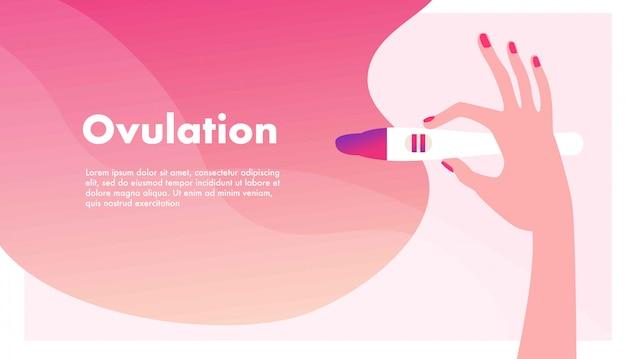 Planificación del embarazo. mujer embarazada. mano que sostiene la ovulación o prueba de embarazo. concepto de salud reproductiva femenina, fertilidad u hormona.