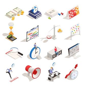 Planificación empresarial y organización del tiempo de trabajo establecido con reloj de arena horario reloj despertador isométrica iconos aislados