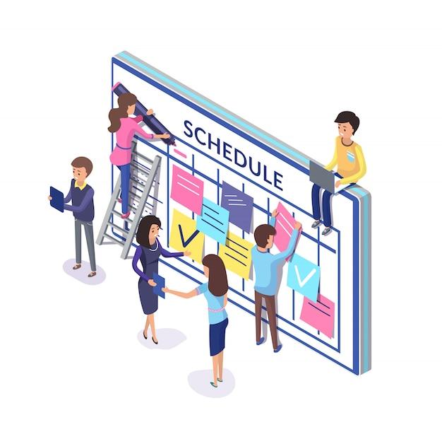 Planificación de equipo, personas con horario y notas